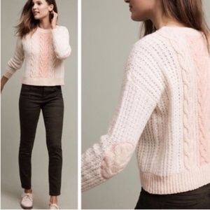 Sleeping On Snow Cabled Knit Elbow Patch Sweater M